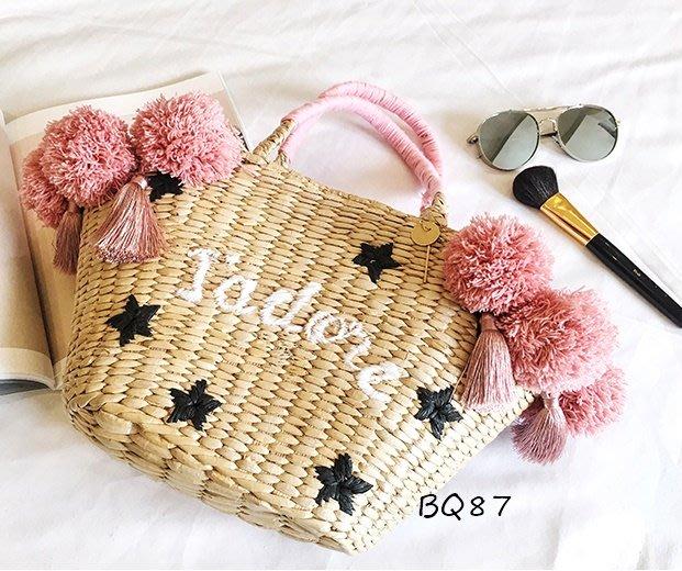BQ87度假 刺繡 花朵 星星 毛球 手提 草包 草編包 藤編包 包包 手拎包$1680