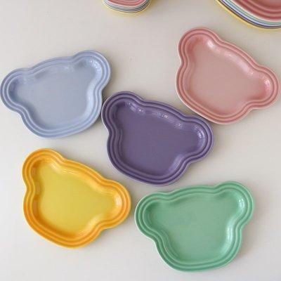 優生活~W2162新品漸變色高溫陶瓷可愛彩色小熊造型餐盤/小盤卡通兒童餐具