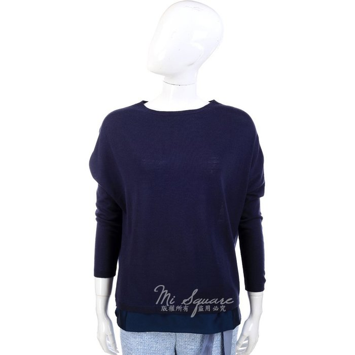 米蘭廣場 FABIANA FILIPPI 深藍色下襬拼接緞面材質 長袖毛衣 1340335-34