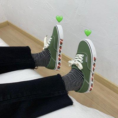 小尤家~草莓帆布鞋女春季新款ins潮鞋學生韓版ulzzang原宿風百搭板鞋