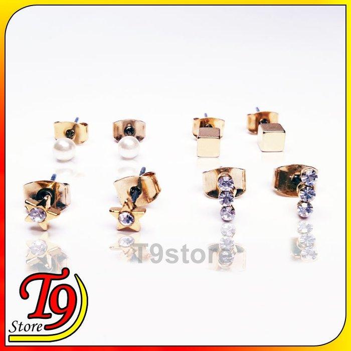 【T9store】韓國製 星星三排鑽珍珠方形組合鋼針耳環