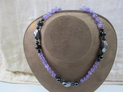 二手舖 NO.2990 天然水晶 磁石項鍊 黑曜石 紫水晶 首飾飾品