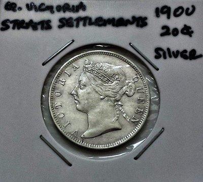 UNC 極稀有 1900 年 英屬 海峽殖民地 維多利亞 女王 20 仙 Cents 銀幣 原光 美品 .800