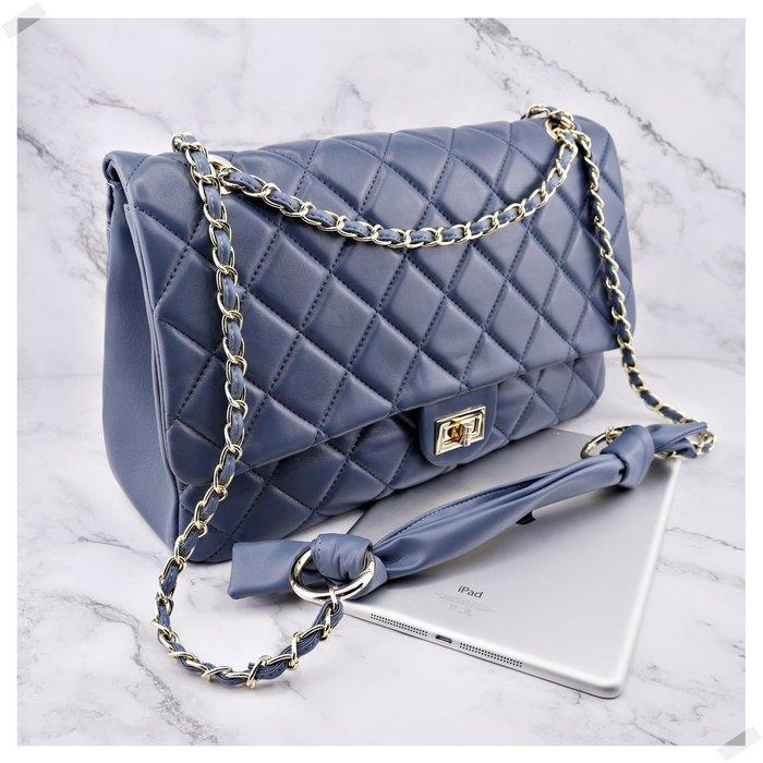 現貨秒出 *NINI Shop* 真皮 羊皮 36cm 超大COCO包 (蝴蝶結長鏈帶)- 湛藍 (刷卡/超取付款)