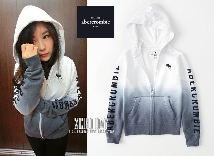 美國a&f真品abercrombie&fitch boy logo full-zip hoodie側繡字連帽外套漸層白