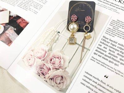 【海星 Starfish】名媛系粉紅玫瑰珍珠造型垂墜式耳環
