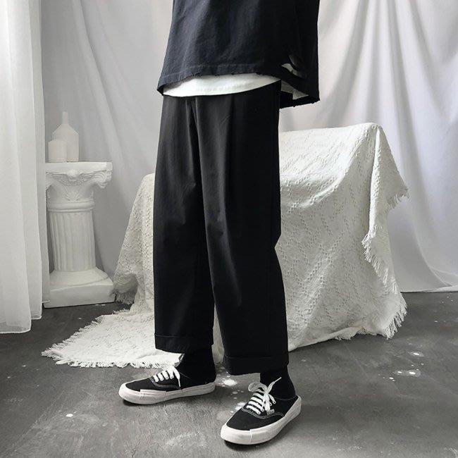 【H.BANDWAGON】百搭必入純黑寬鬆薄款九分闊腿褲 西裝褲 直筒褲 休閒褲 小黑褲 中性 男生 女生