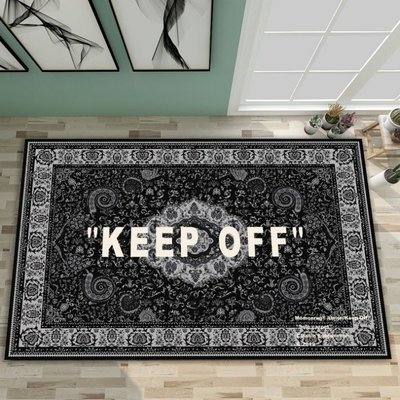 全館免運 地毯 手工羊毛簡約 可愛風ow宜家地毯IKEA聯名off white腰果花keep off 地毯歐式潮牌地毯