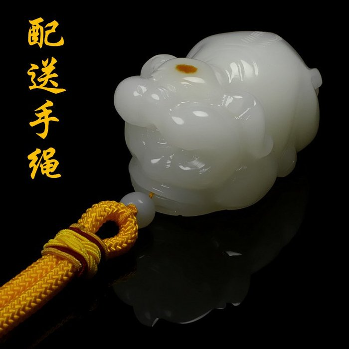 天然真品白玉發財豬手把件立體把玩件轉運招財豬玉石玉器手把玩件 玉器 首飾 白玉
