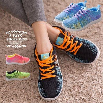 格子舖*【AP070】零碼36-40 螢光編織炫彩輕量化 繫帶休閒鞋 運動慢跑鞋 帆布鞋 4色