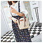 EmmaShop艾購物-韓國夏季同步上新草編束口撞色水桶包/手提/肩背/海灘包