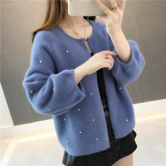 毛衣外套女正韓新款秋裝慵懶風寬鬆短款學生仿水貂針織衫開衫