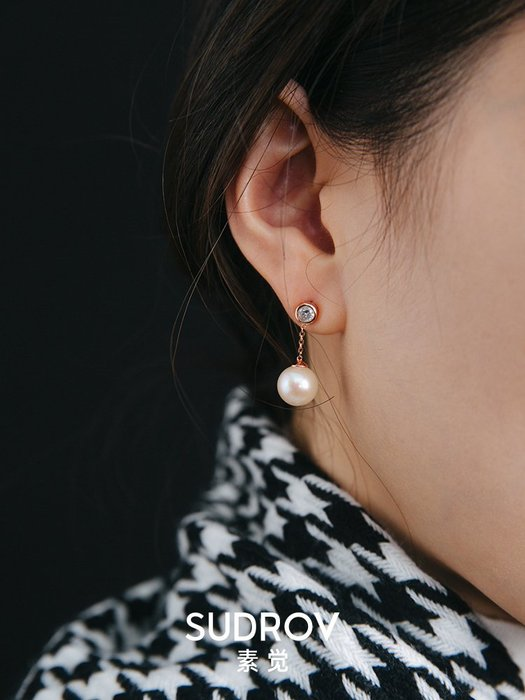 FEI日韓代購~素覺純銀正圓強光珍珠耳墜女飾品百搭耳飾耳環氣質簡約耳釘