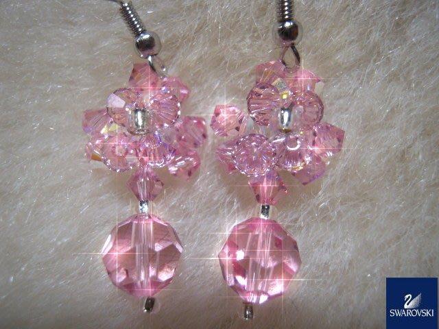 ※水晶玫瑰※ SWAROVSKI 地球珠水晶 耳勾式耳環(DD436)