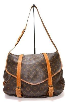 Louis Vuitton 斜背包 雙面馬鞍包SAUMUR 43大馬鞍包 老花 側背包$1388 1元起標M42252