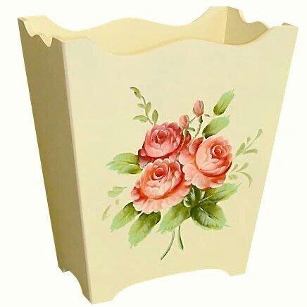 粉紅玫瑰精品屋~歐式 手繪玫瑰  花桶 收納筒 垃圾桶~