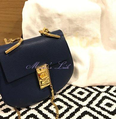CHLOE  深藍色 藏青藍 金鍊 Drew handbag 小豬包 MINI型 小型