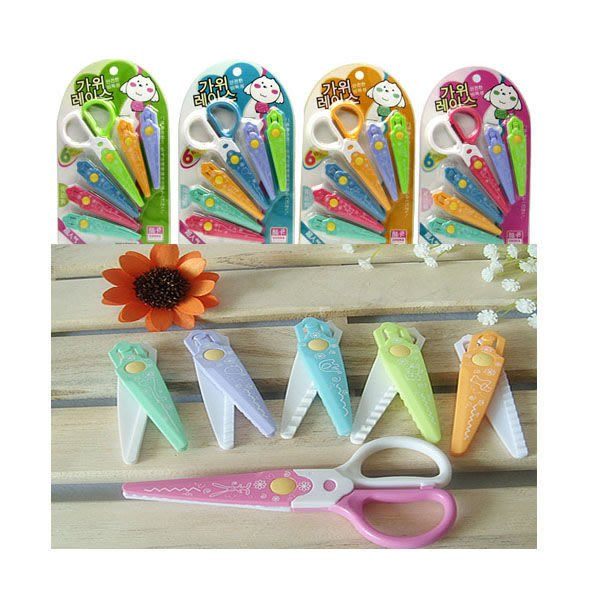 Q媽 美勞玩具 兒童花邊6款組合剪刀 刀口是全塑膠 6款可替換