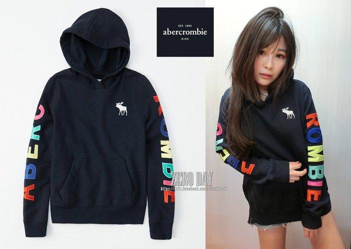 美國時尚網a&f真品abercrombie&fitch satin logo hoodie美式貼布刺繡字母麋鹿連帽T深藍