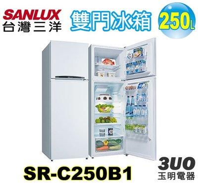 台灣三洋250L定頻雙門冰箱 SR-C250B1