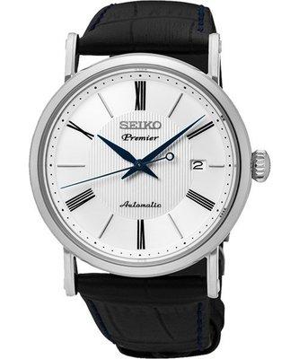 SEIKO 精工 Premier 系列超薄機械腕錶(SRPA17J2)-白/40mm4R35-01C0P