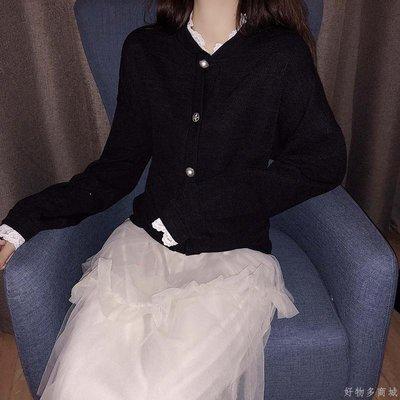 好物多商城 秋裝新款蕾絲邊單排扣開衫+網紗半身裙子兩件套時尚套裝女裝