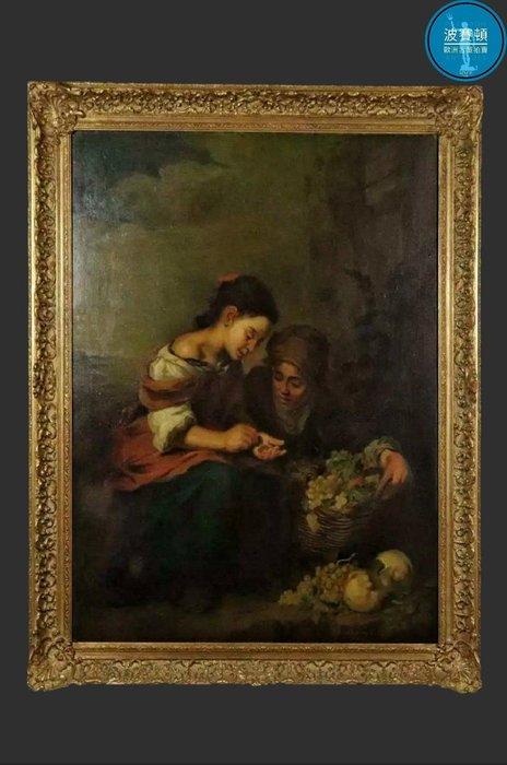 【波賽頓-歐洲古董拍賣】歐洲/西洋古董 意大利古董 19世紀 大型手繪穆里略小水果商人物油畫(尺寸:118×98公分)(落款:Heichele)