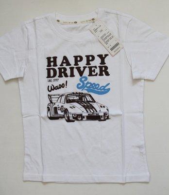 國民服飾 Lativ 快樂賽車手白色短袖上衣、size:120【全新現貨】