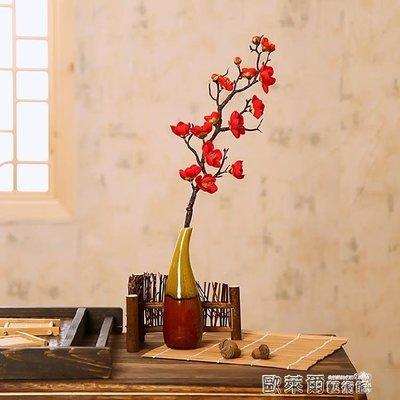 全館85折 裝飾花 單枝仿真梅花桃花絹花幹枝臘梅花藝客廳擺設插花假花創意裝飾