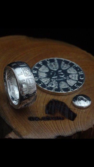ao.circle 奢扣 {亮面版}  歐洲 奧地利銀幣 客製化 手工戒指 銀幣 純銀 Alchemy 英國 煉金術
