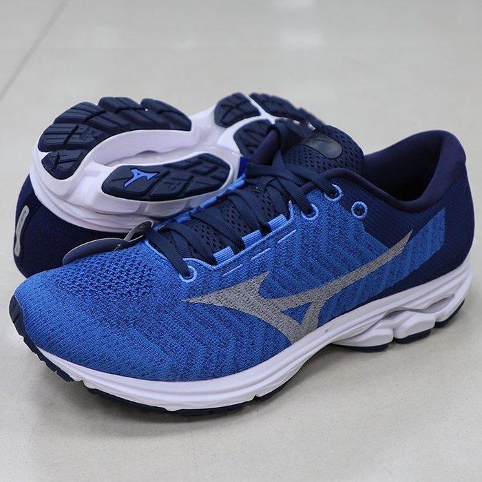 *世偉運動精品* 美津濃(MIZUNO) J1GC193139 WAVEKNIT 3 SW 男生慢跑鞋 寬楦 4E 藍黑
