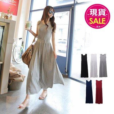 【JD Shop】莫代爾連身長裙 韓版顯瘦大擺無袖連身裙 縮腰背心裙洋裝 孕婦也適合