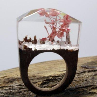 外貿飾品廠家 原木真花戒指 創意首飾 女復古飾品熱賣