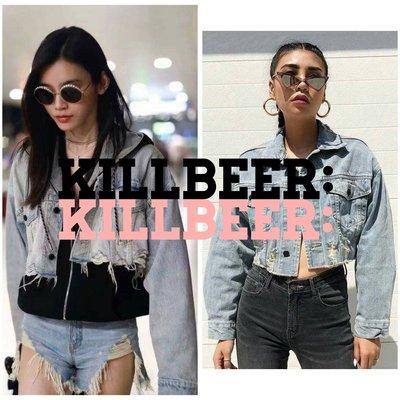 KillBeer:經典就是不會被換之 歐美60s復古搖滾古著水洗做舊抽鬚破洞短版淺色丹寧牛仔外套zara topshop