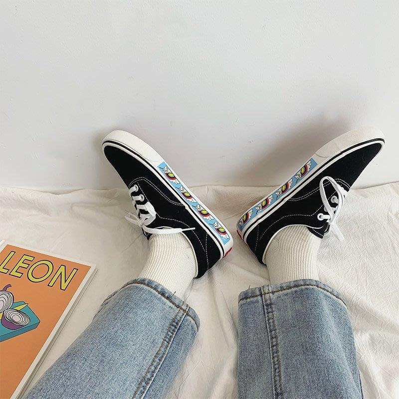 小尤家~獨角獸帆布鞋女春秋新款潮鞋ins百搭韓版網紅女生流行板鞋潮