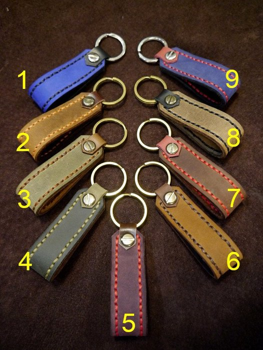 (KH手工皮革工作室)純手工雙層牛皮鑰匙圈.鑰匙釦.20年專業手工製作免費燙字團購 情人節 父親節限時活動