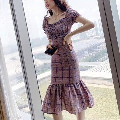 *Angel Dance*短袖棉麻洋裝(格紋)@韓國 法式風格 chic 方領 格子 泡泡袖 荷葉邊 魚尾裙@現貨+預購