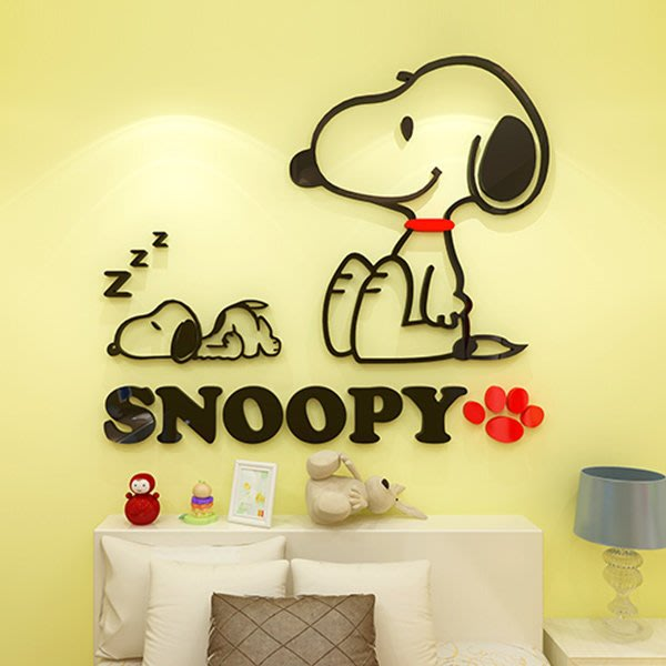 史奴比兒童房間裝飾臥室卡通可愛牆壁牆上牆紙自粘貼畫亞克力3d立體牆貼