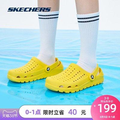 涼鞋Skechers斯凱奇女子新款百搭經典鏤空平底舒適休閑一腳蹬洞洞鞋拖鞋