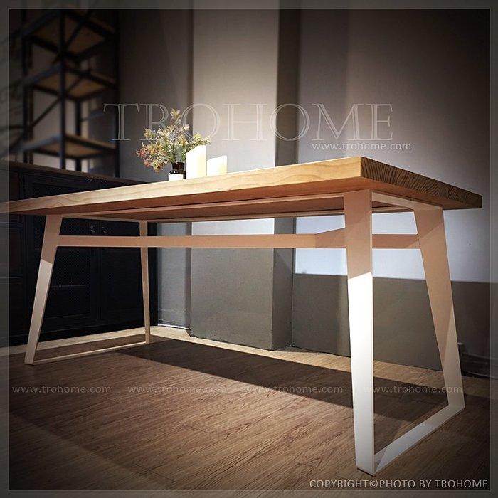 【拓家工業風家具】可訂製-重量感實心扁鐵實木桌-白/LOFT長桌辦公桌電腦桌工作桌/美式復古咖啡店北歐會議桌餐桌餐椅書桌