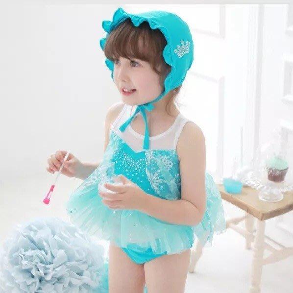 泳裝 比基尼 韓版冰雪奇緣系列韓國童裝冰雪奇緣/Elsa愛爾莎公主夢幻比基尼泳衣游泳衣 甜美公主 現貨--崴崴安兒童館