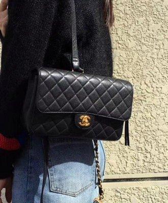 chanel vintage 佳績布×內裡經典紅羊皮,coco25cm後背包~雙肩包
