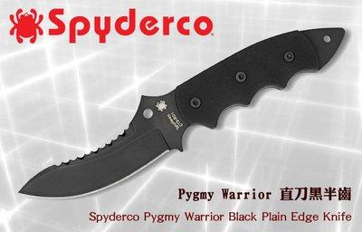 【angel 精品館 】 Spyderco Pygmy Warrior直刀黑半齒G10柄CTS BD鋼FB29GPSBB