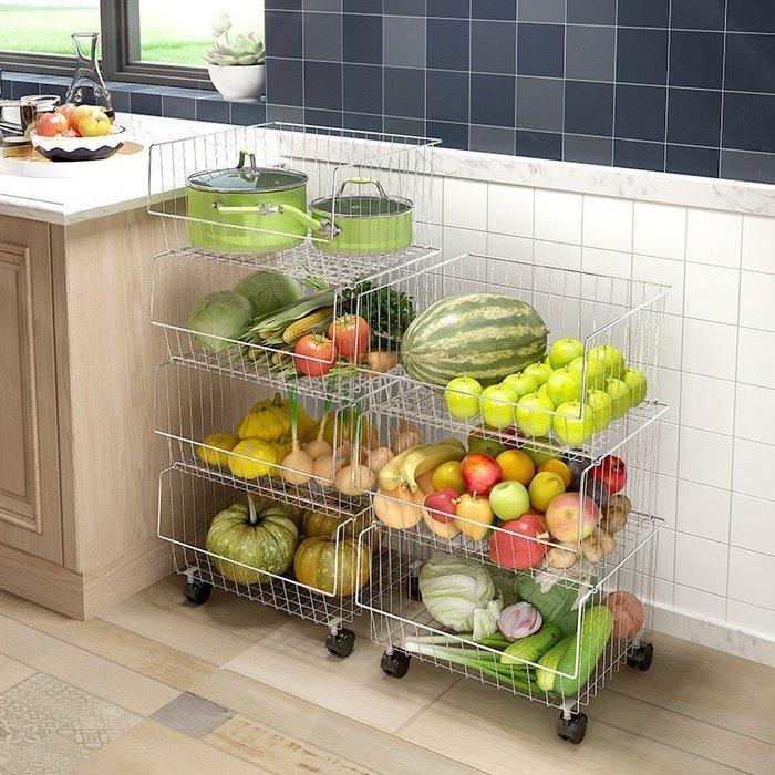 【免運】廚房用品績家廚房蔬菜置物架304不銹鋼落地菜籃子家居用品收納筐2層水果籃