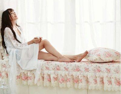 粉紅玫瑰精品屋~歐式蕾絲田園玫瑰飄窗墊...