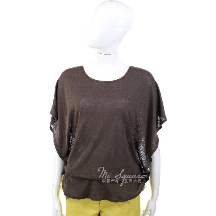 米蘭廣場 ALLUDE 咖啡色荷葉袖剪裁設計短袖上衣 1320273-07