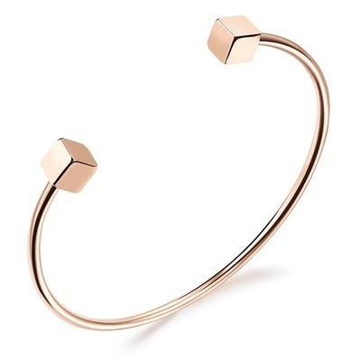 電鍍玫瑰金手環簡約開口方塊女士手鐲送禮N841