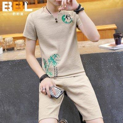 中國風男裝 夏季新款 男士棉麻刺繡短袖 T恤套裝 潮男休閒青少年中式唐裝
