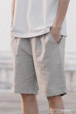 短褲 夏季日系原宿風亞麻短褲男青年純色簡約薄款水洗chic寬鬆中褲