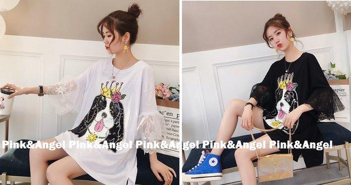 ❤Pink&Angel❤【33435】韓版狗狗亮片 蕾絲喇叭袖 中長版連身T恤。2色。現+預